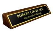"NP14 - 2"" x 10"" Nameplate on Solid Walnut Base"